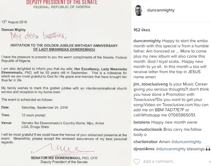 D.Senate president writes Duncan Mighty on wife's 50th birthday party invite