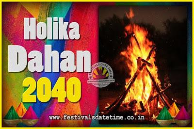 2040 Holika Dahan Puja Date & Time, 2040 Holika Dahan Calendar