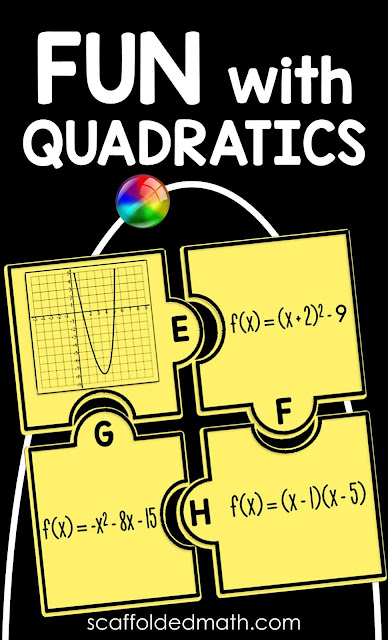 Are you looking for fun, hands-on activities to teach factoring quadratics or the quadratic formula? In this post are lots of ideas and free resources for helping students when teaching lessons on quadratics, including games, sorting activities, task cards and free printable PDF posters..