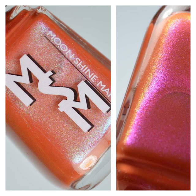 tangerine shimmer nail polish in a bottle
