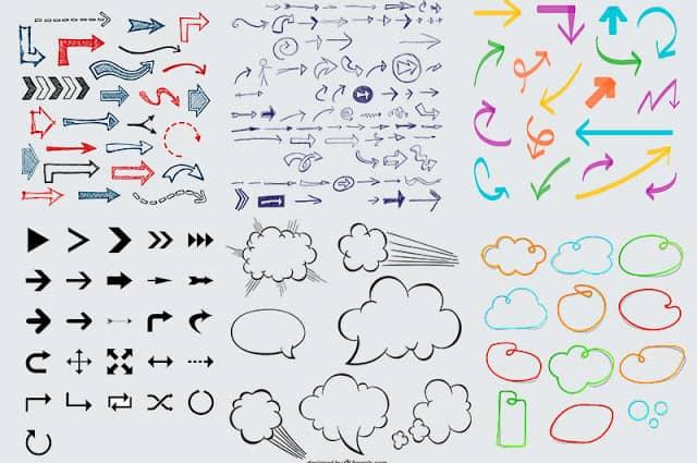 flechas y formas para mapas mentales