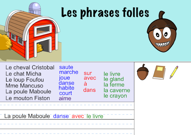 Interactive SMART Notebook Activities - La poule Maboule - phrases folles