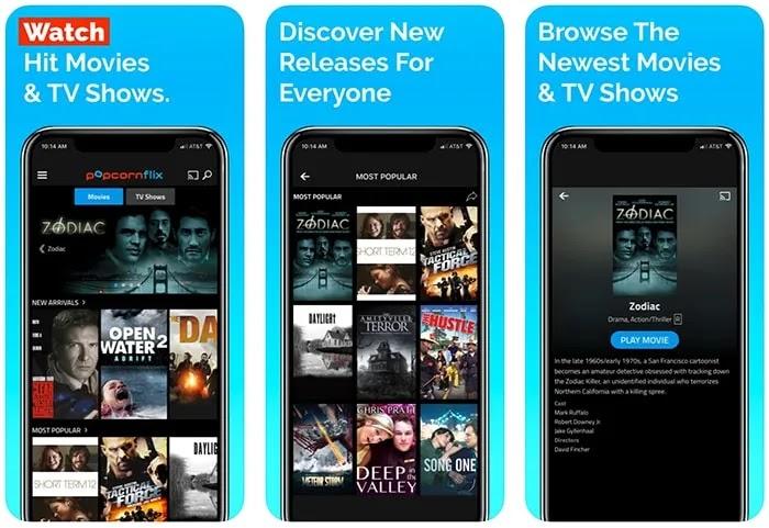 تطبيقات الأفلام المجانية Iphone Popcornflix