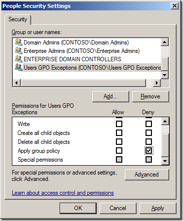 How to exclude individual users or computers from a GPO
