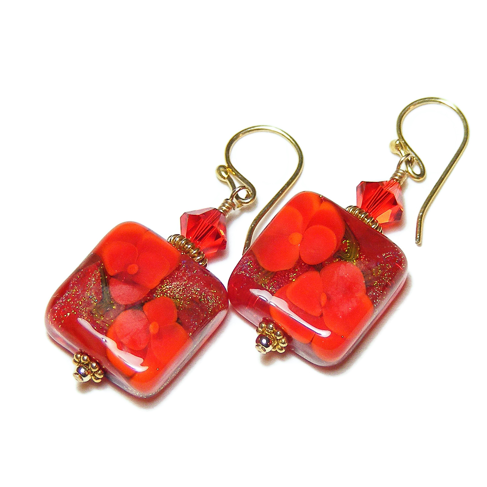 Red Gold Pansies Earrings by Erika Price