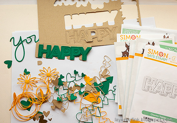 Layers of ink - Mini Album Tutorial by Anna-Karin Evaldsson. Die cut embellishments and words.
