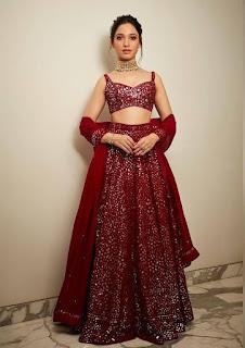 Tamannah Bhatia In Red Ghagra At Akash Ambani Wedding