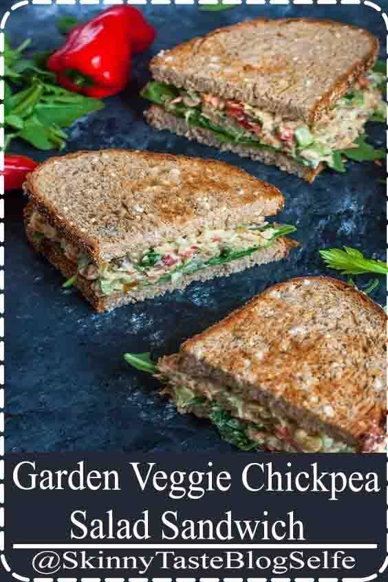 4.9 | ★★★★★ This tasty Garden Veggie Chickpea Salad Sandwich is a plant-based powerhouse of a lunch! Make it in advance for a party or picnic or to take along as an easy weekday lunch for work or school.#Chickpea #Salad #Sandwich