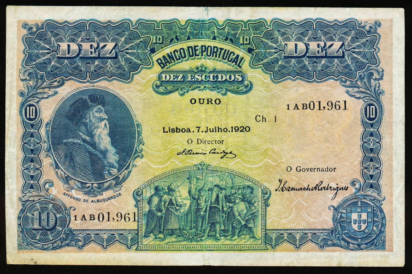 Portugal 10 Escudos banknote 1920 Afonso de Albuquerque