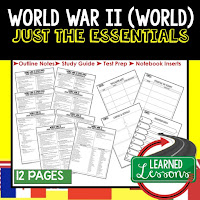 World War II, World History Outline Notes, World History Test Prep, World History Test Review, World History Study Guide, World History Summer School Outline, World History Unit Overview, World History Interactive Notebook Inserts