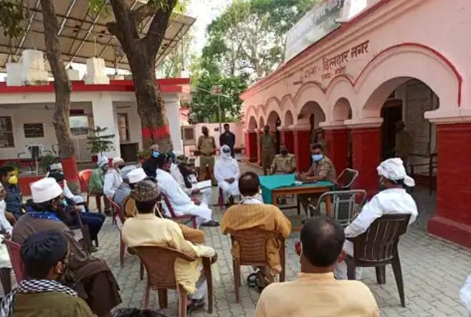 रविवार को स्थानीय थाना परिसर में ईदगाहों पर सिर्फ 5 लोग ही पढ़ेंगे ईद की नमाज