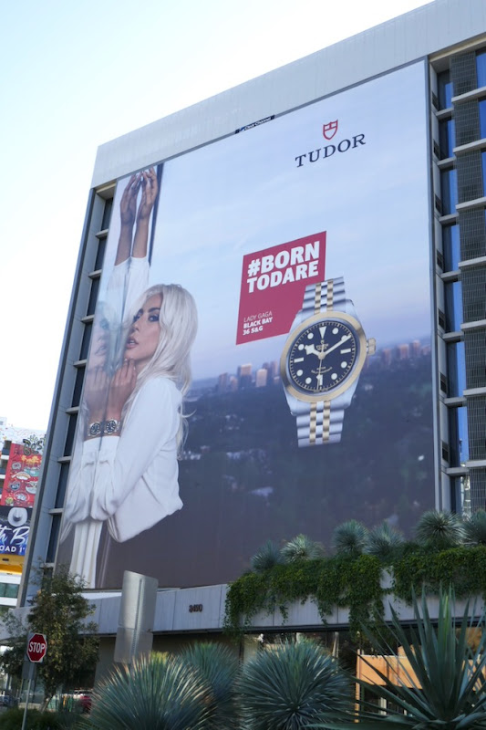 Giant Lady Gaga Black Bay Tudor watch billboard