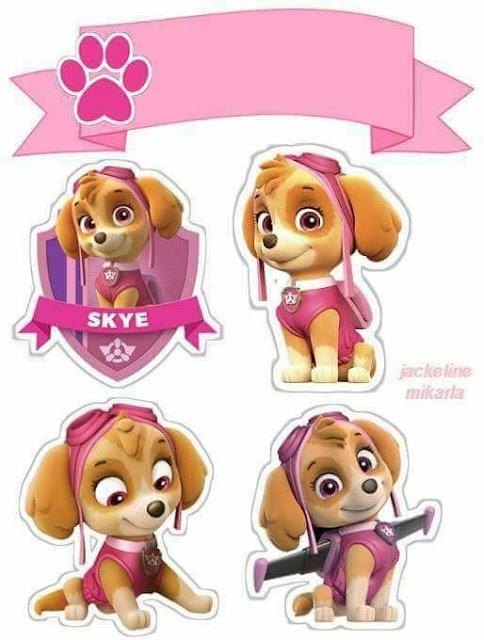 Skye de Paw Patrol o Patrulla Canina: Toppers para Tartas, Tortas, Pasteles, Bizcochos o Cakes para Imprimir Gratis.