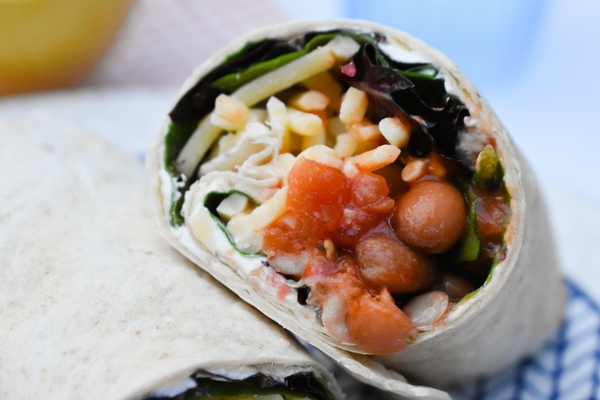 close up of half a Spicy Bean Lunch Wrap