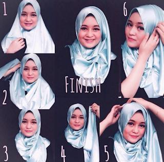 Cara Memakai Jilbab Segi Empat Modern Untuk Wajah Bulat