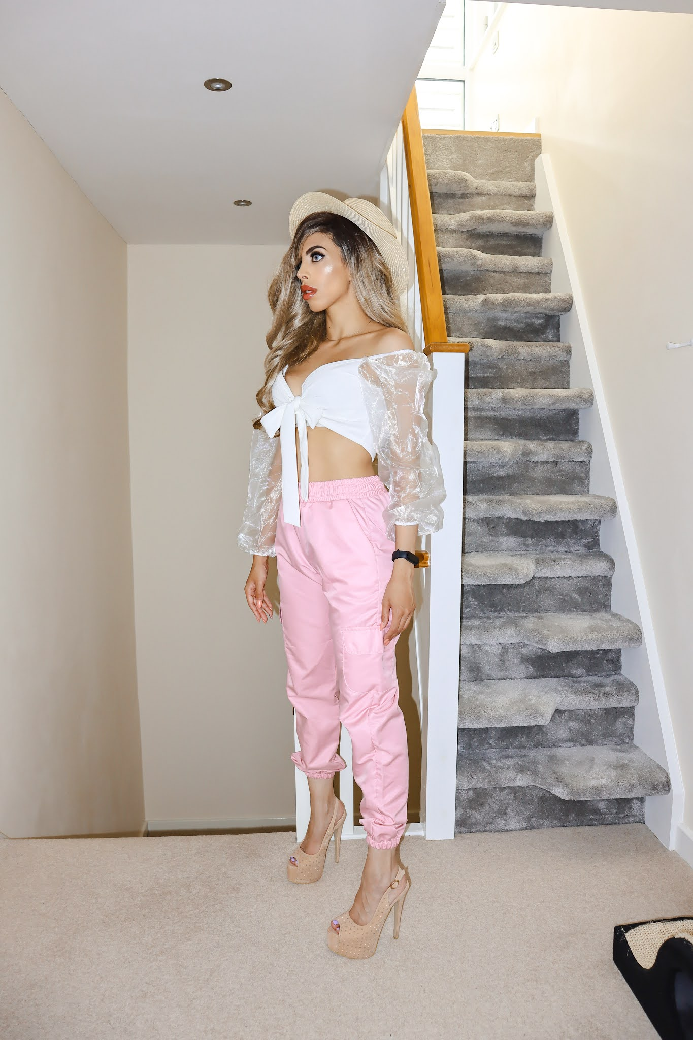 The Femme Luxe White Tie Front Organza Mesh Sleeve Crop Top in model Dash
