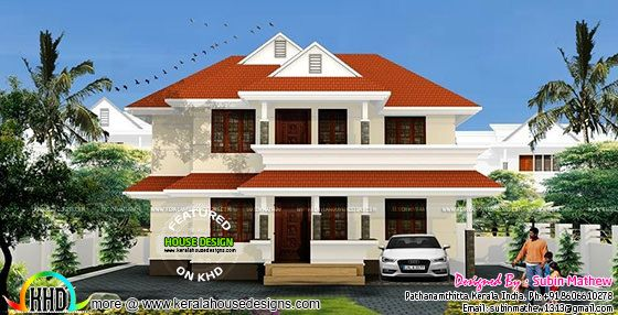 6 bedroom typical Kerala sloping roof home