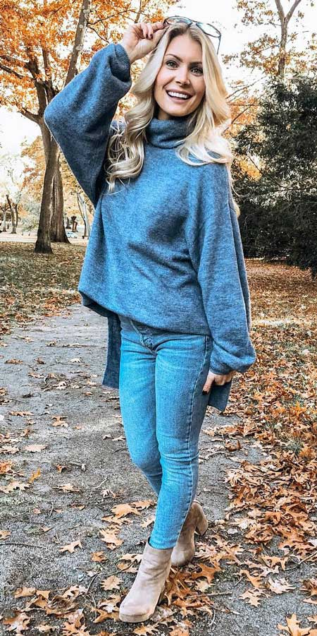 Stylish jumper,jeans | From knited jumpers to oversized jumper. Discover these 31 Cute womens jumpers that will totally embrace you. Jumper Outfits via higiggle.com #jumper #winterwear #style #cute
