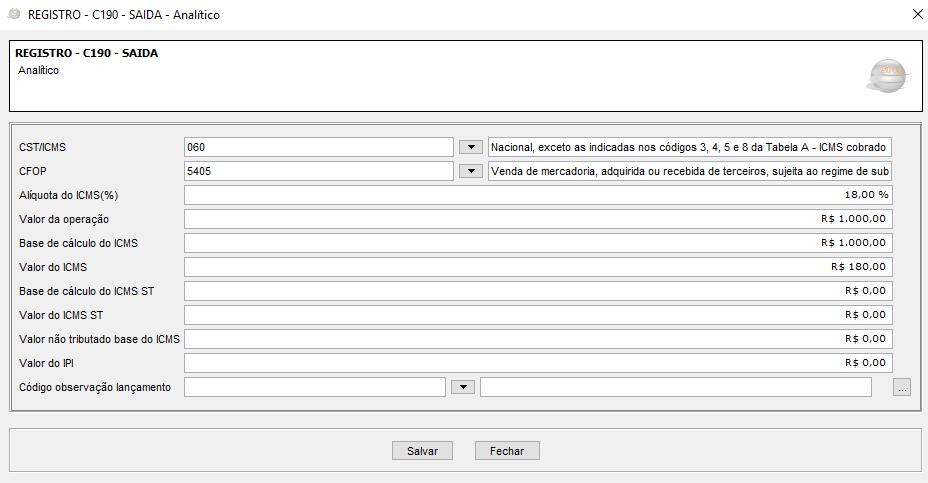 Registro C190 - SAÍDA - Analítico