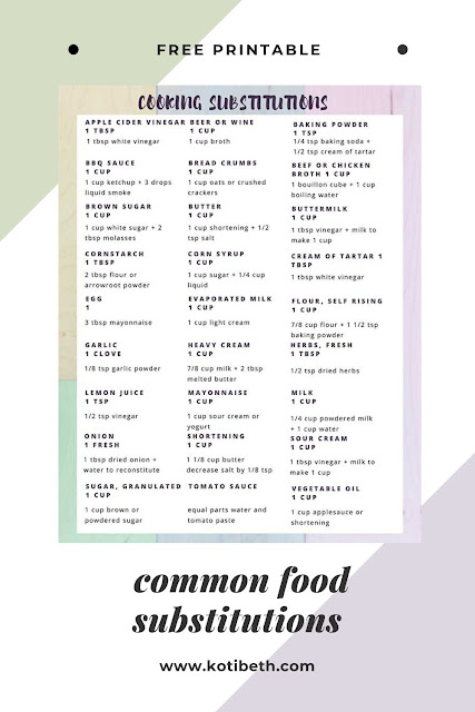 Is your pantry running low?  Try these food substitutions for common ingredients including for milk, for eggs, and for oil. These work for your baking so you can make your favorite foods without going to the store. The post has a list (chart) and there's also a free printable cheat sheets to hang on your fridge, cupboard door, or pantry.  These are easy cooking substitutions with common ingredients and real ingredients. #cooking #baking