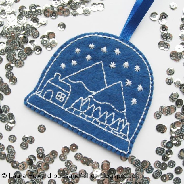 embroidered snow globe ornament