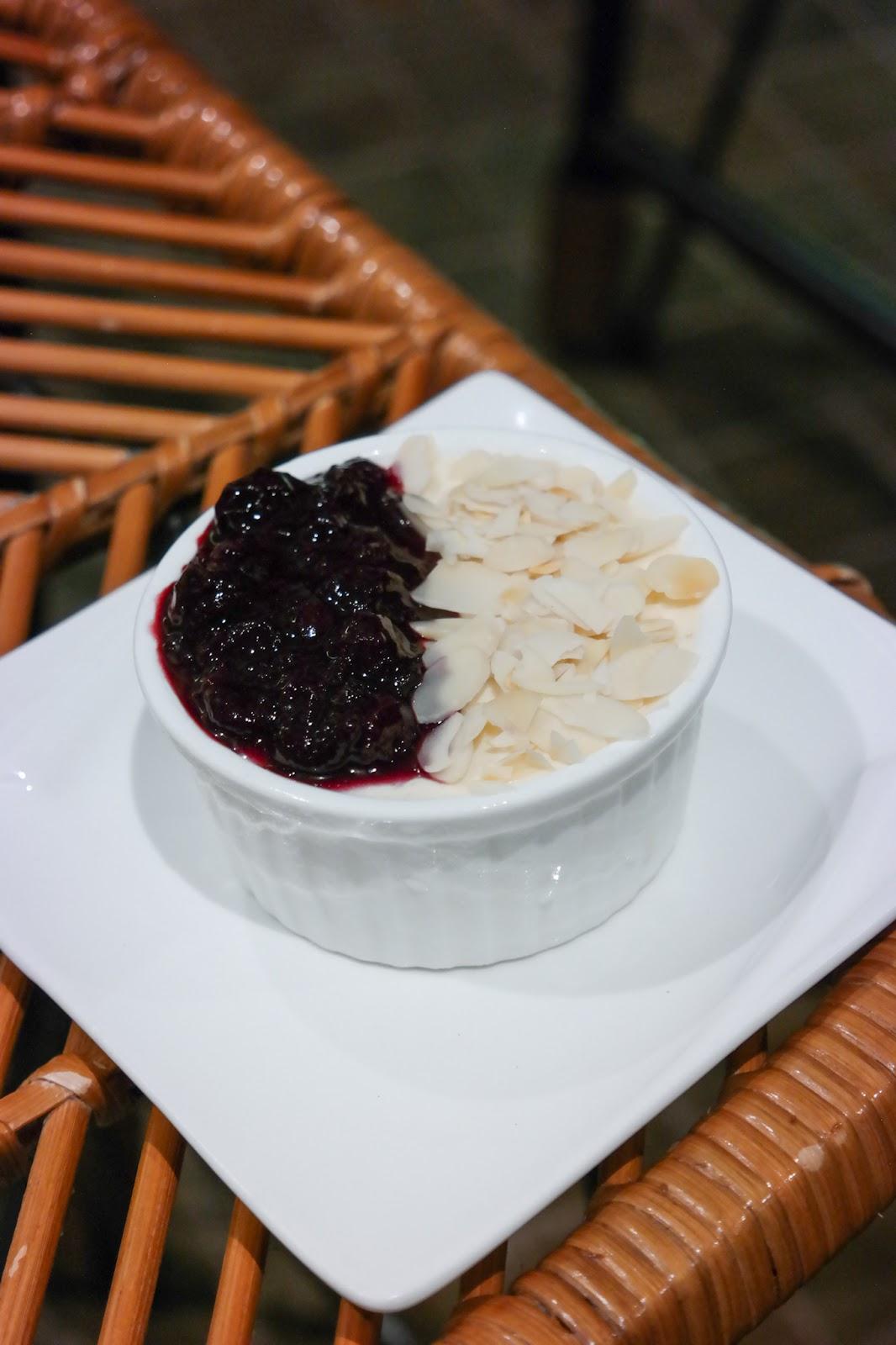 Gin Rik Sha Baked Yogurt Pudding with Berry Coulis