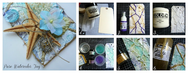 How to Create a Beach Themed Mixed Media Tag Tutorial using Products from Jacquard