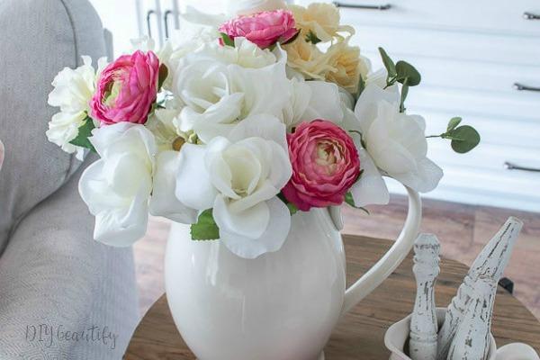 cottage florals in white pitcher