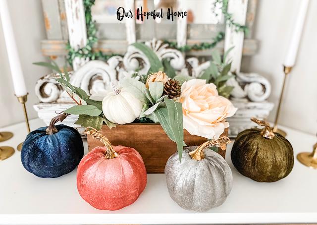 jewel toned velvet pumpkins fall decor