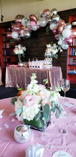 Bridal shower decoration with flowers