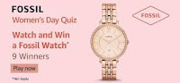 Amazon Fossil Women's Day Quiz Answers 25-Feb-2021