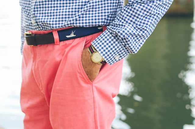 grosgrain belt, gingham shirt, nantucket red pants