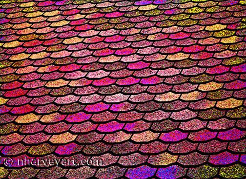 Roof Shingles colorful edit, pinks gold rust purple