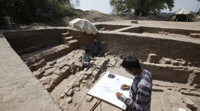 Remains of Buddhist monastery unearthed in Vadnagar, Gujarat