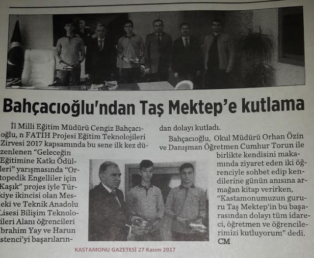 Bahçacıoğlu'ndan Taş Mektep'e kutlama! - Basında Harun İstenci
