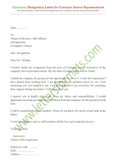 resignation letter for customer service job