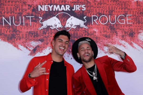 Neymar with Brazilian surfer Gabriel Medina at his birthday party