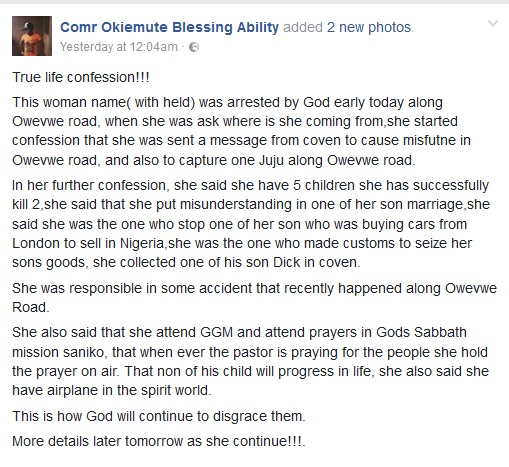 SHOCKING!! Witch Caught in Delta, Her Confession Of What She Has Been Doing Will Shivers Down Your Spine