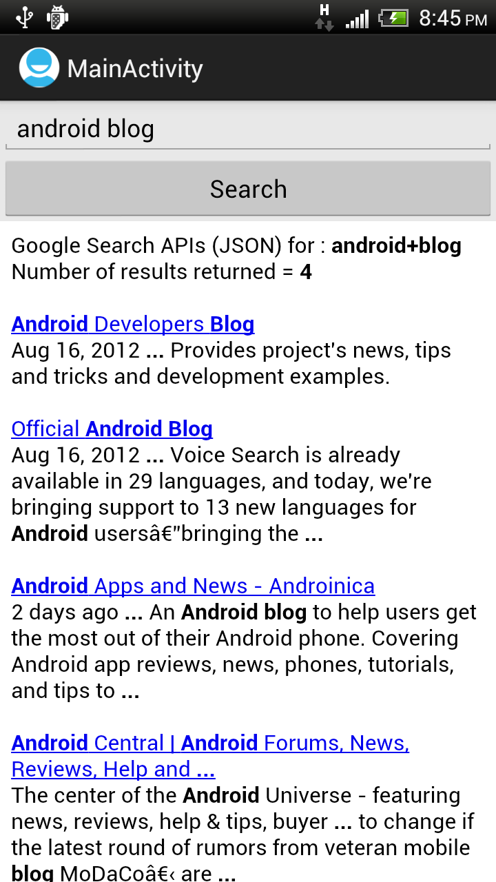 Android-er: Google Search with custom search phase