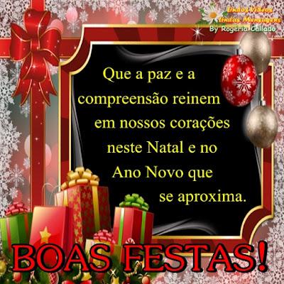 Que a paz e a compreensão  reinem em nossos corações neste  Natal e no Ano Novo que se aproxima.  Boas Festas.
