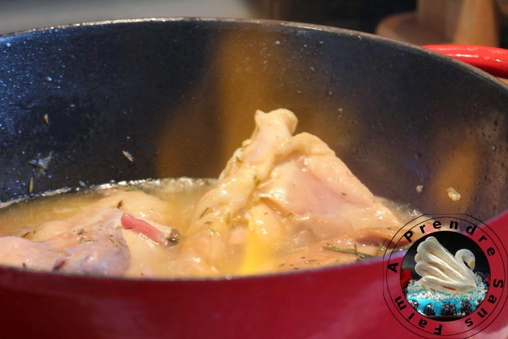 Fricassée de poulet flambé à l'Armagnac