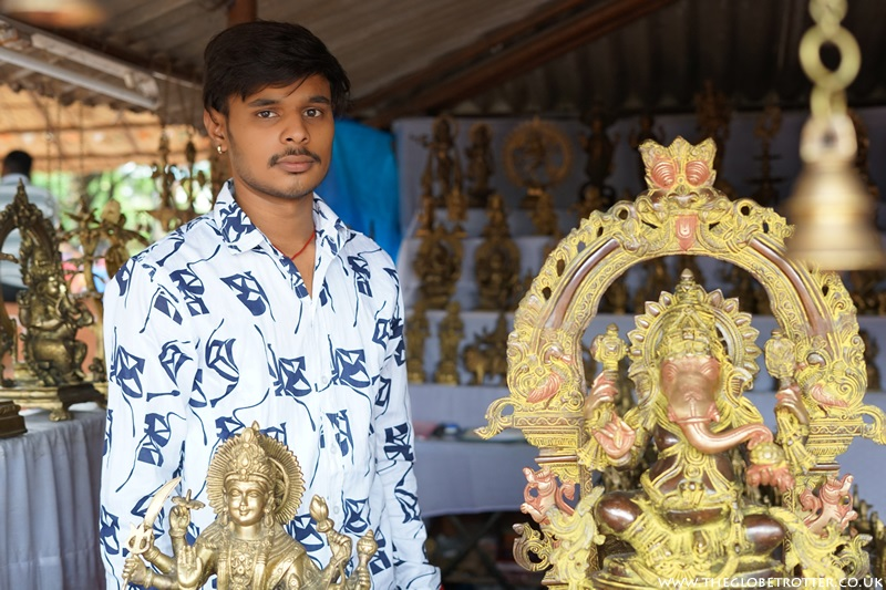 Shivam Raju Soni in his Brass Idols shop at Shilparamam