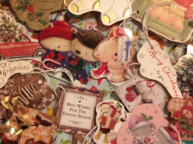 Pile of homemade Christmas tags