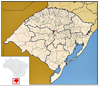 Cidade de Estrela Velha, no mapa do Rio Grande do Sul
