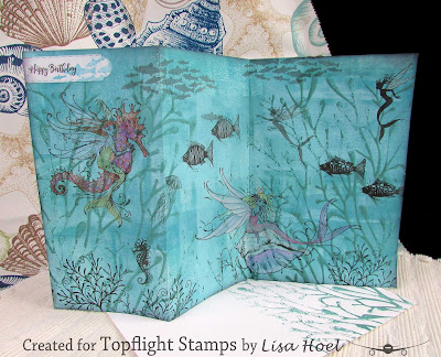 Lisa Hoel for Topflight Stamps - mermaid birthday card using Pink Ink Designs and Lavinia stamps