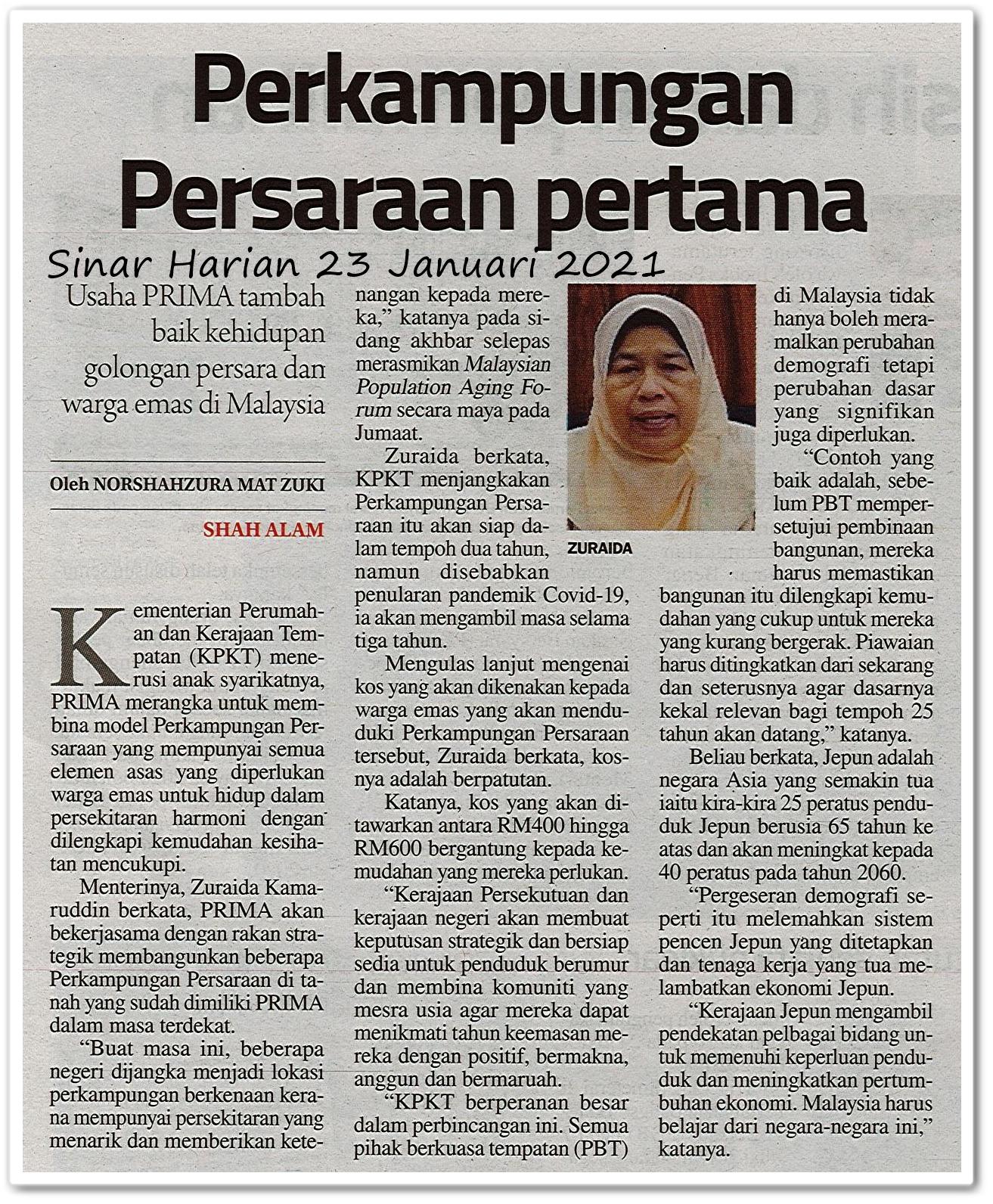 Perkampungan Persaraan pertama - Keratan akhbar Sinar Harian 23 Januari 2021
