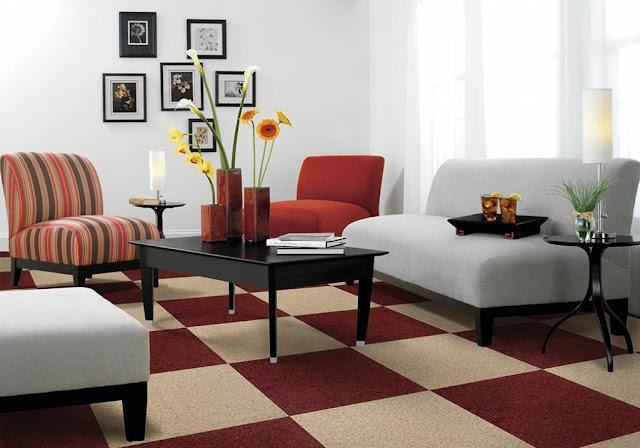 Thảm trải sàn nhà nhiều màu sắc và họa tiết