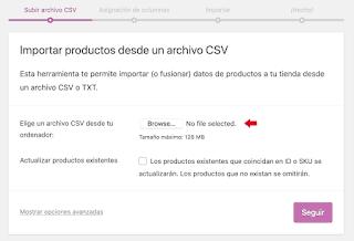 Tras iniciar la importación veras una pantalla en la que te solicitará el archivo .csv