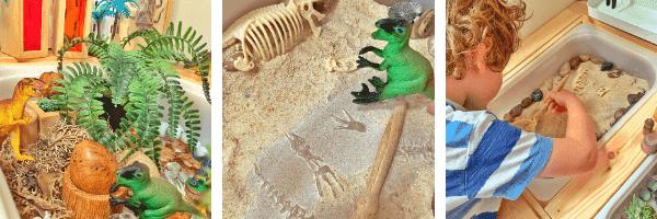 Dinosaur Island play tray fossil tuff spot activity