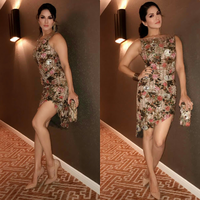 Sunny Leone In Rocky Star dress and clutch